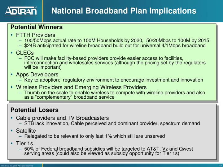 National Broadband Plan Implications