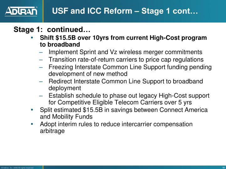 USF and ICC Reform – Stage 1 cont…