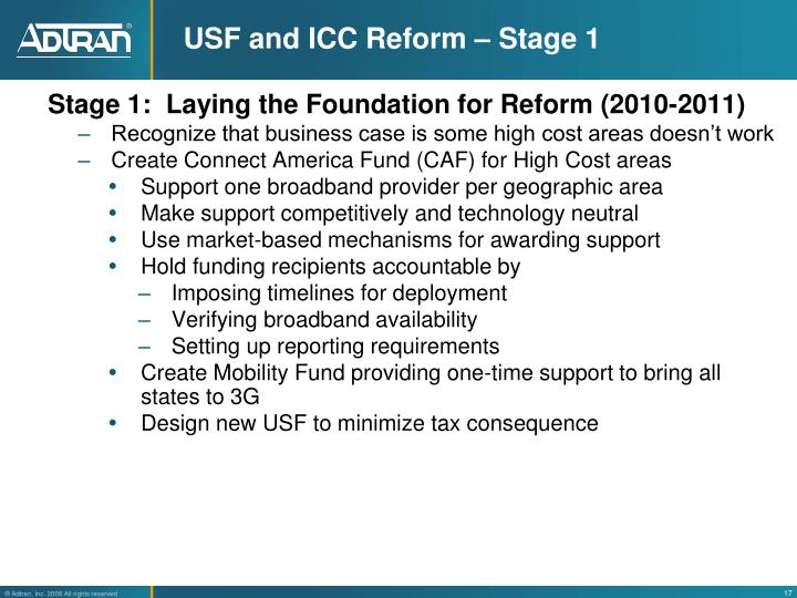 USF and ICC Reform – Stage 1