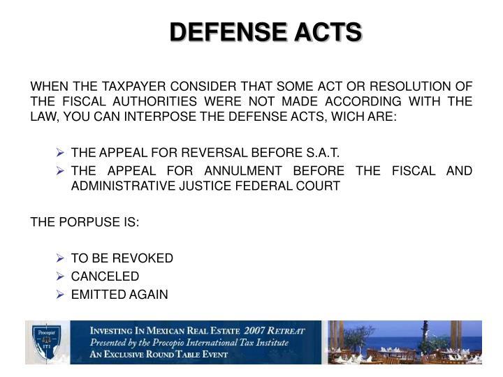 DEFENSE ACTS