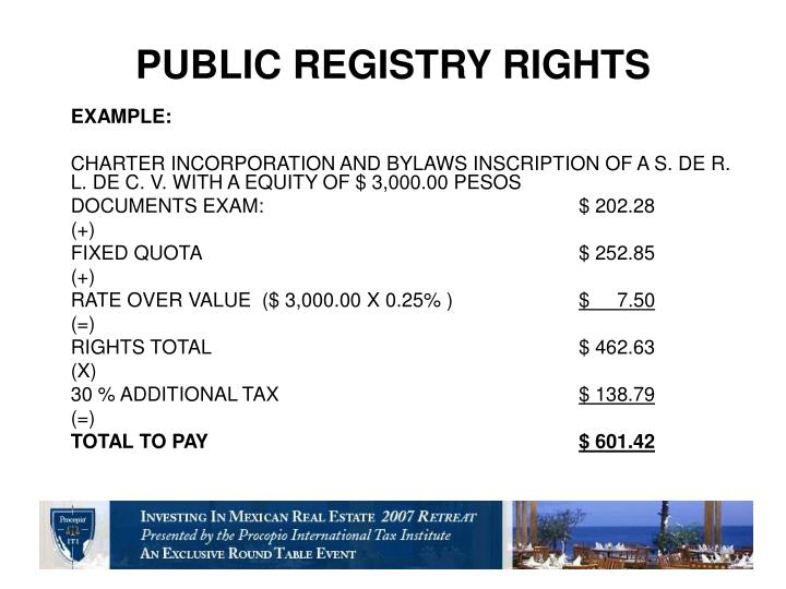 PUBLIC REGISTRY RIGHTS