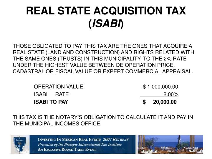 REAL STATE ACQUISITION TAX    (