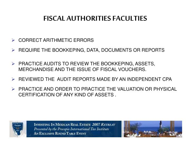 FISCAL AUTHORITIES FACULTIES