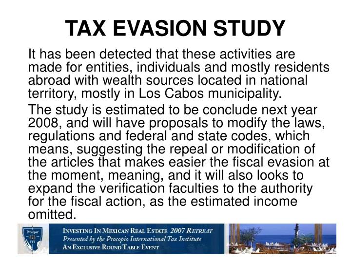 TAX EVASION STUDY