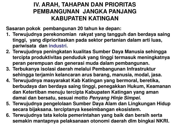 IV. ARAH, TAHAPAN DAN PRIORITAS