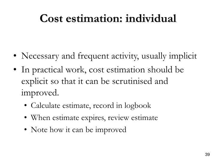 Cost estimation: individual