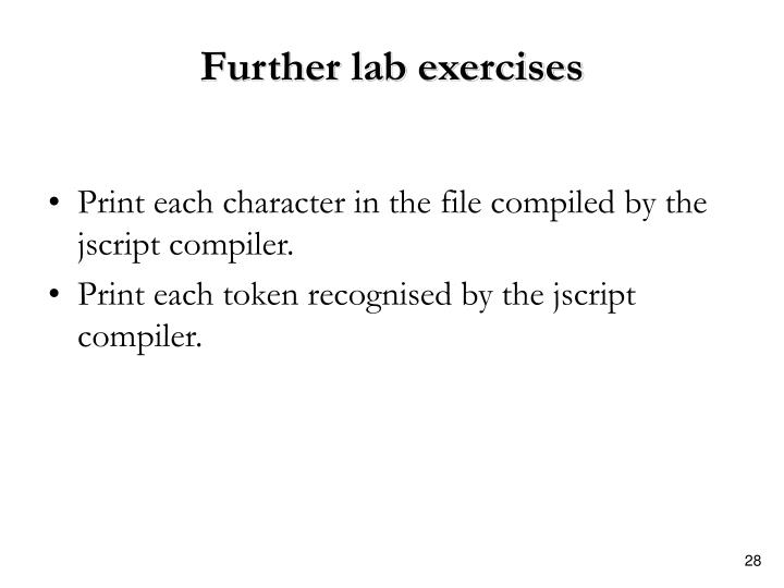 Further lab exercises