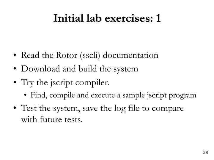 Initial lab exercises: 1