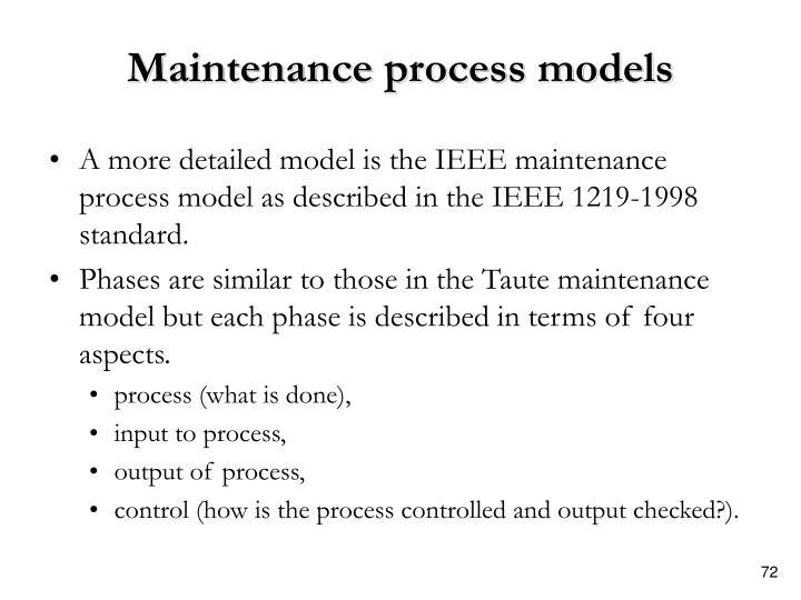 Maintenance process models