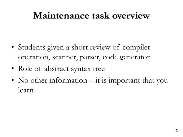 Maintenance task overview