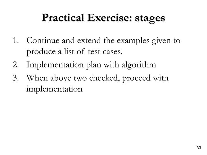 Practical Exercise: stages