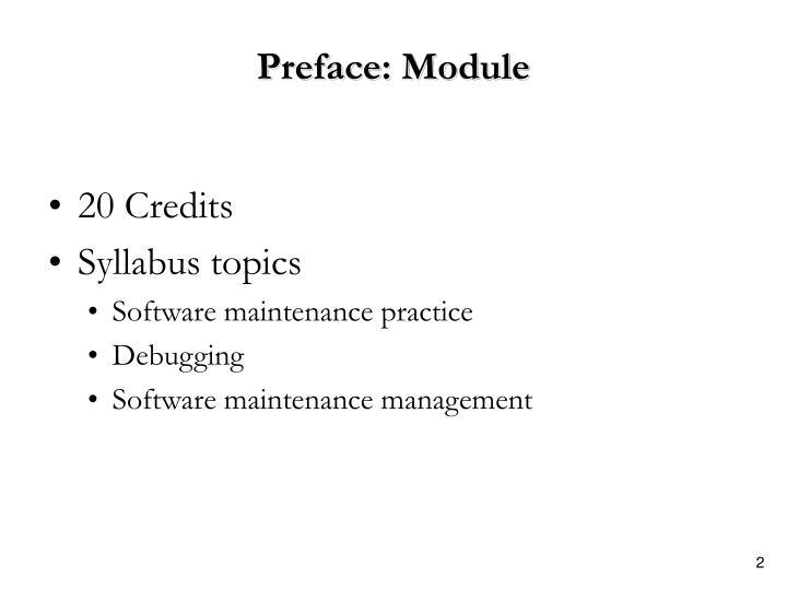 Preface: Module