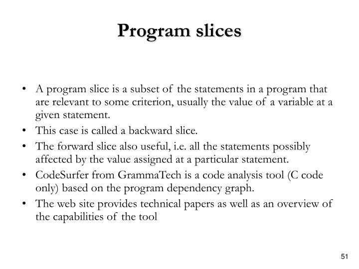 Program slices