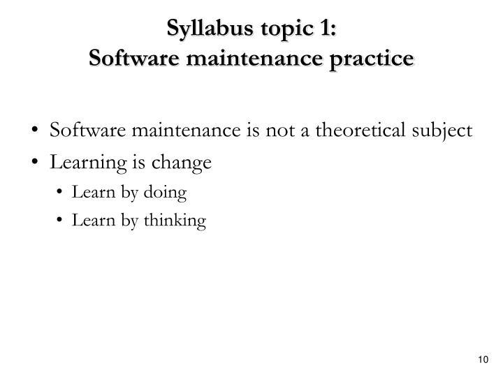Syllabus topic 1: