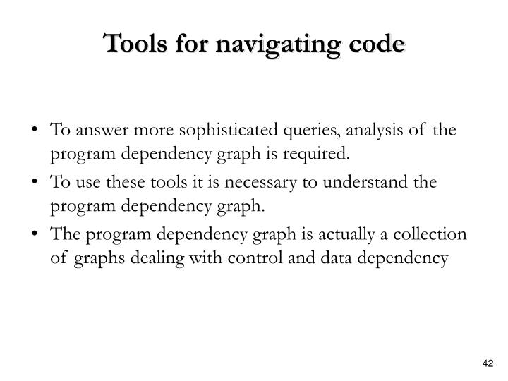 Tools for navigating code