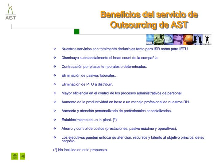 Beneficios del servicio de Outsourcing de AST