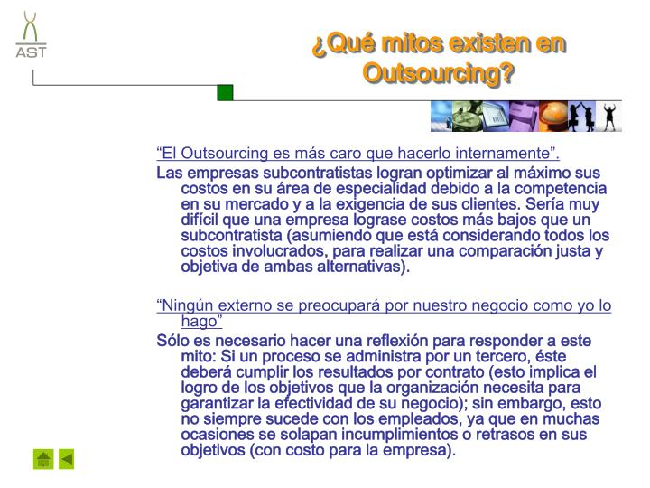 ¿Qué mitos existen en Outsourcing?