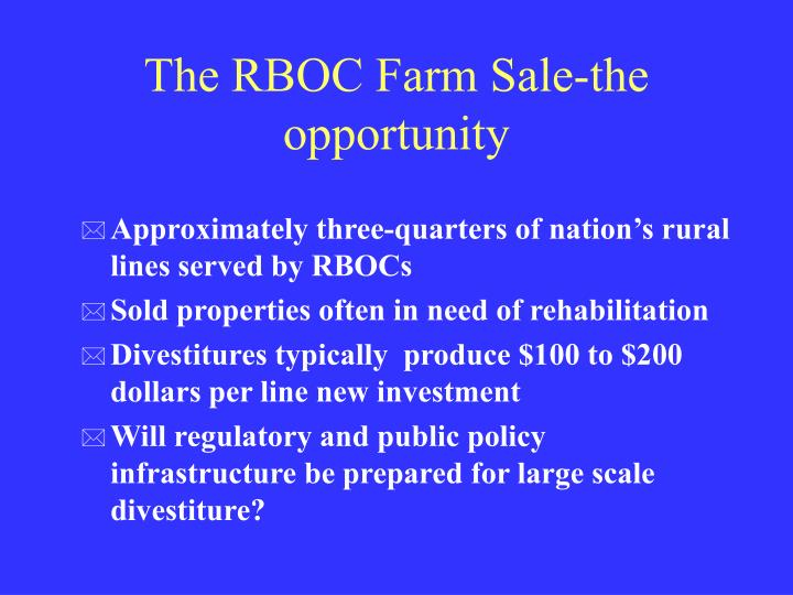 The RBOC Farm Sale-the opportunity