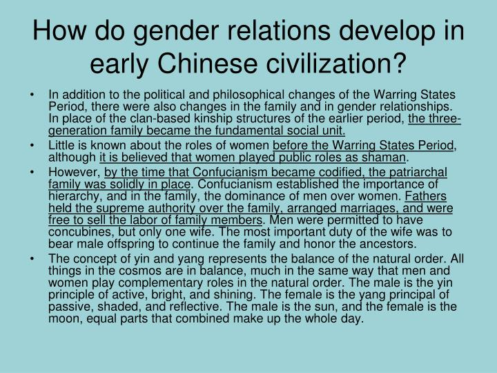 How do gender relations develop in early Chinese civilization?