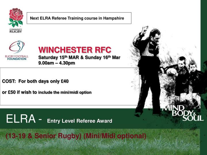 Next ELRA Referee Training course in Hampshire