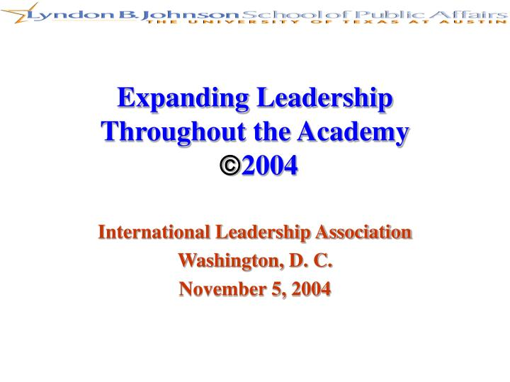 Expanding Leadership Throughout the Academy