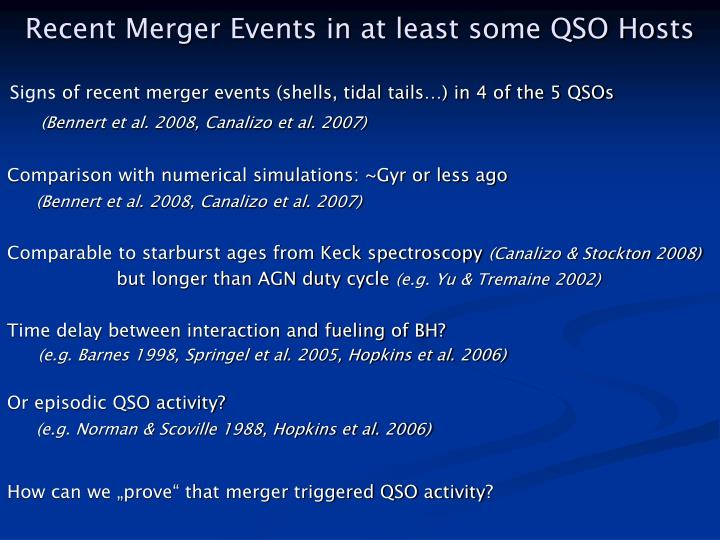 Recent Merger Events in at least some QSO Hosts
