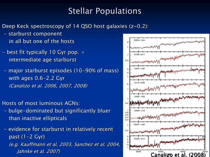 Deep Keck spectroscopy of 14 QSO host galaxies (z~0.2):