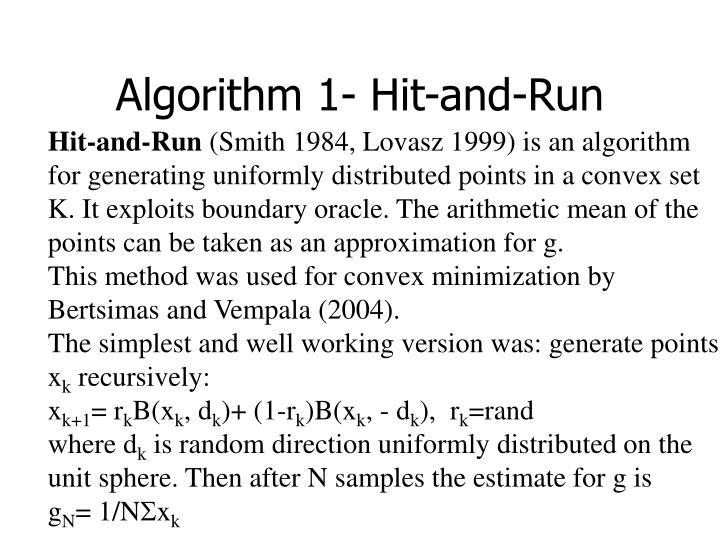 Algorithm 1- Hit-and-Run