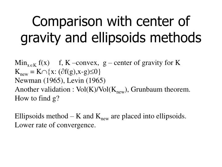 Comparison with center of gravity and ellipsoids methods