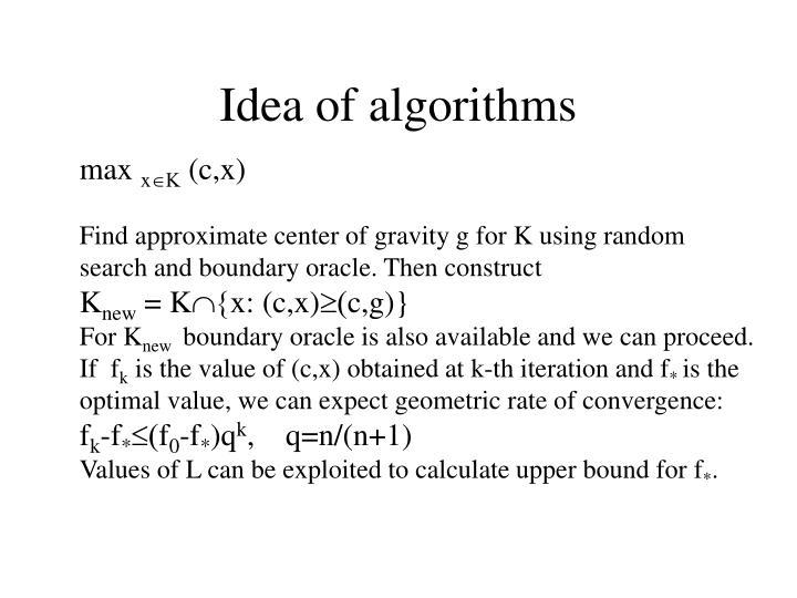 Idea of algorithms