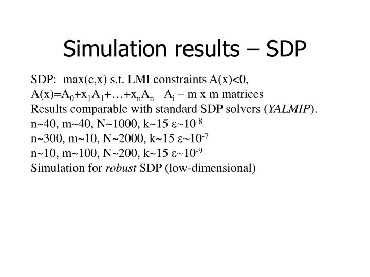 Simulation results – SDP
