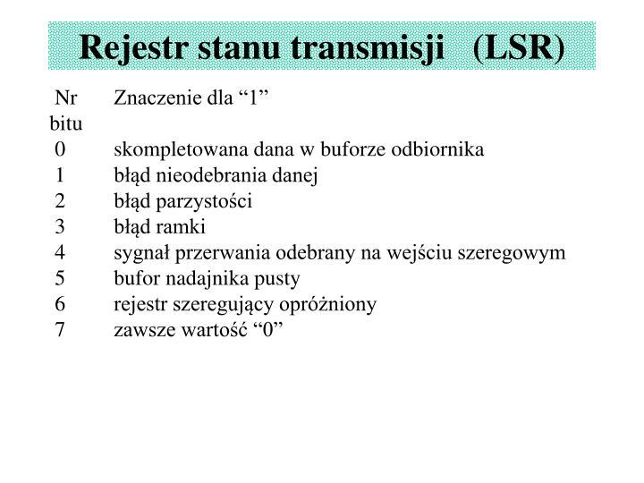 Rejestr stanu transmisji   (LSR)