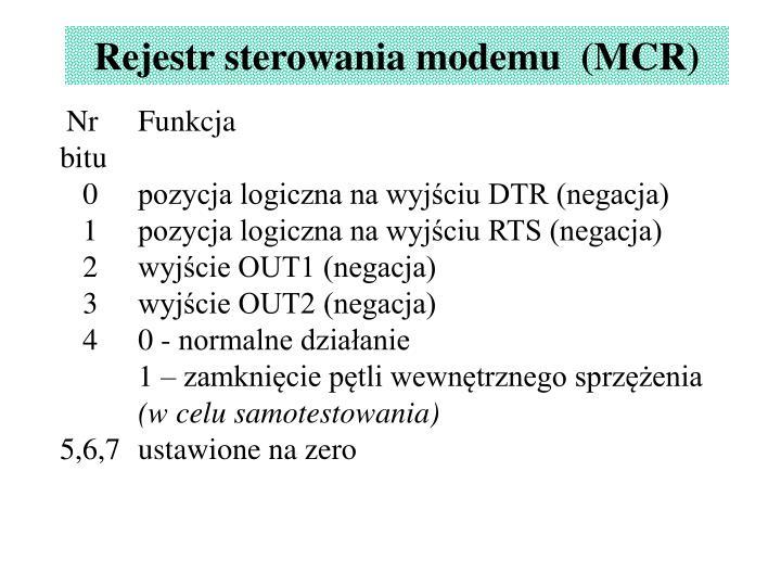 Rejestr sterowania modemu  (MCR)
