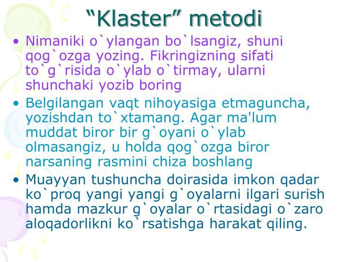 """""""Klaster"""" metodi"""