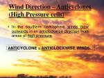 wind direction anticyclones high pressure cells