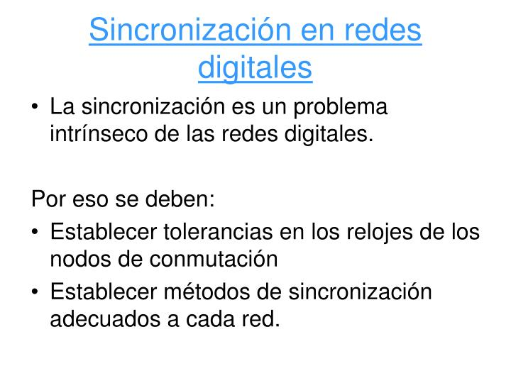 Sincronización en redes digitales