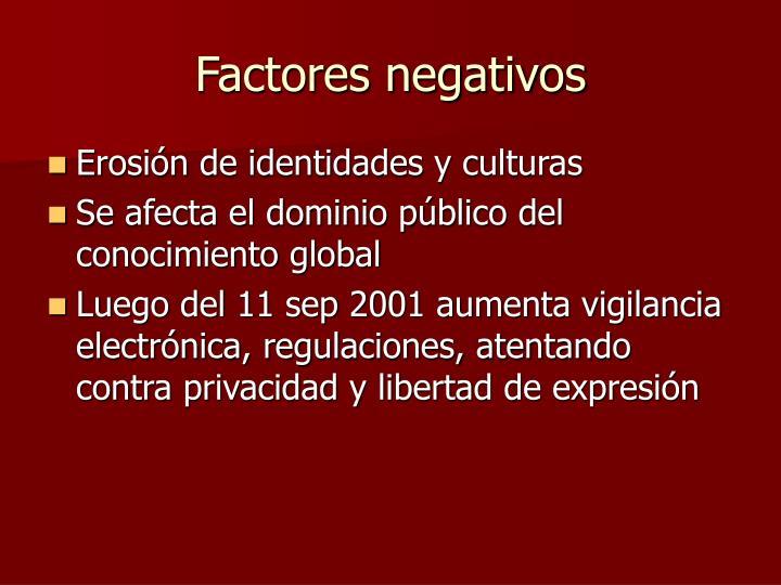 Factores negativos