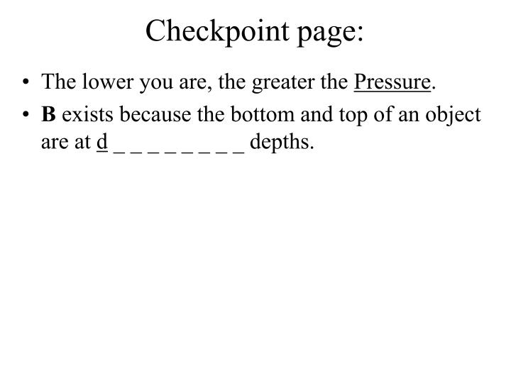 Checkpoint page: