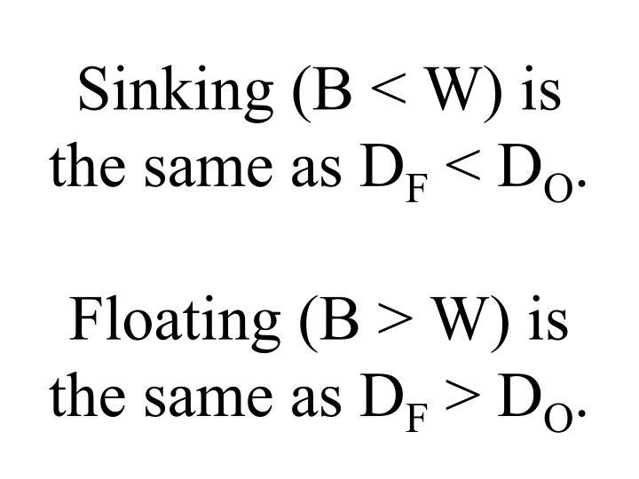 Sinking (B < W) is