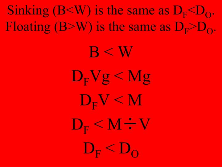 Sinking (B<W) is the same as D