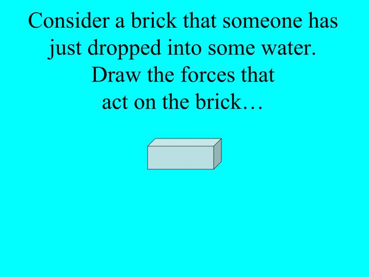 Consider a brick that someone has just dropped into some water.