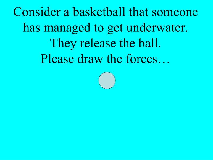 Consider a basketball that someone has managed to get underwater.  They release the ball.