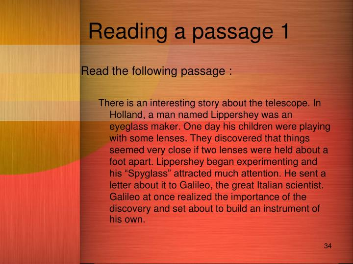 Reading a passage 1