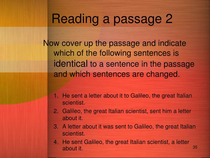 Reading a passage 2