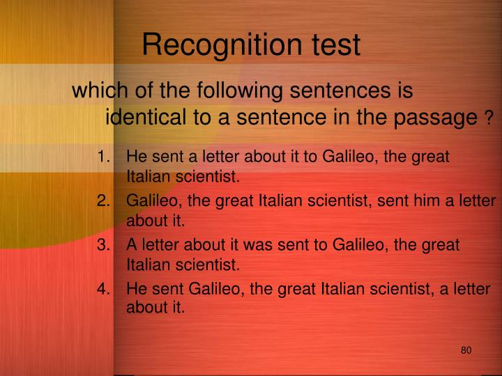 Recognition test