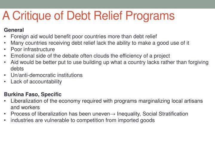 A Critique of Debt Relief Programs