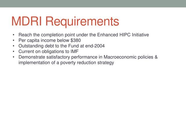 MDRI Requirements