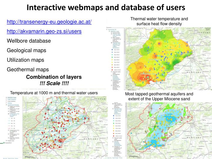 Interactive webmaps and database of users