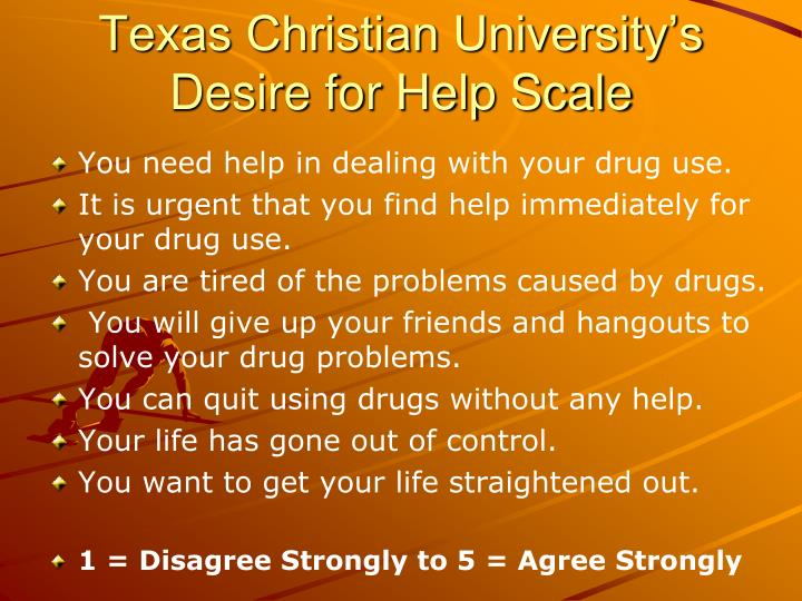 Texas christian university s desire for help scale