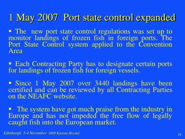 1 May 2007  Port state control expanded